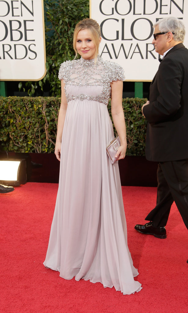 An expectant Kristen Bell highlighted her growing bump in a lavender Jenny Packham gown with an embellished top.