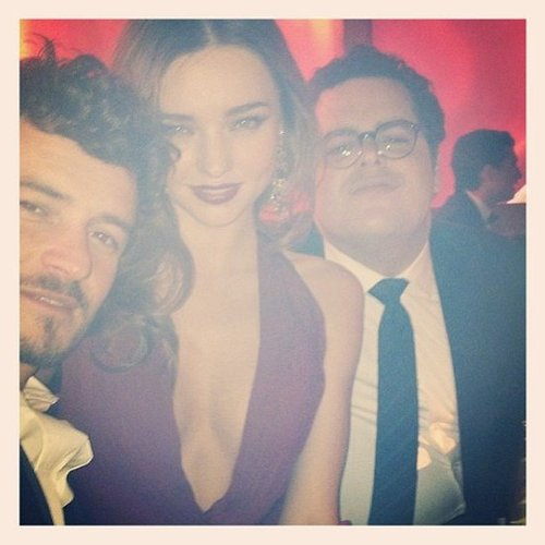 Miranda Kerr and Orlando Bloom shared a photo from a Golden Globes party. Source: Twitter user MirandaKerr