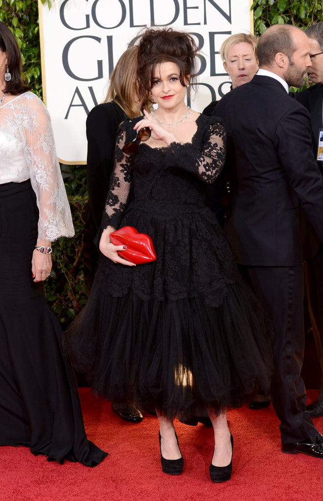 Mom of two Helena Bonham Carter got an early start on Valentine's Day with her lip-themed purse.