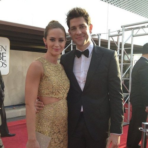 Emily Blunt and John Krasinski made a gorgeous couple on the red carpet at the Golden Globes. Source: Instagram user goldenglobes