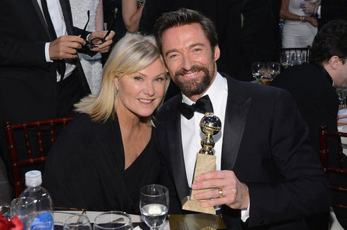 Hugh Jackman and his wife, Deborra-Lee Furness, posed with his best actor Golden Globe.