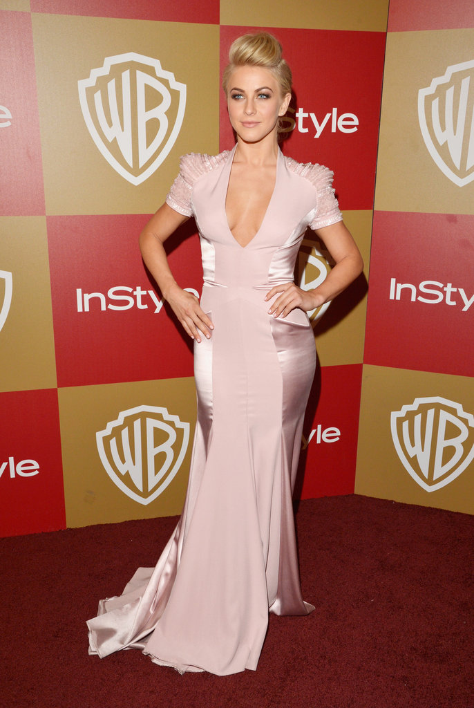 Julianne Hough changed into a body-conscious Jenny Packham gown, complete with structured cap sleeves and satin paneling on the sides.