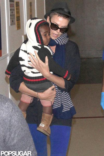 Charlize Theron held baby Jackson Theron close.