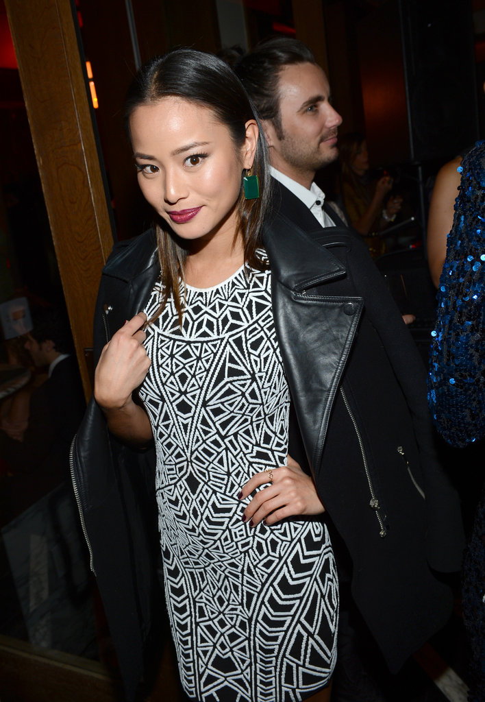 Jamie Chung wore a leather jacket.
