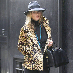 Kate Moss Wearing a Leopard Coat With Hat