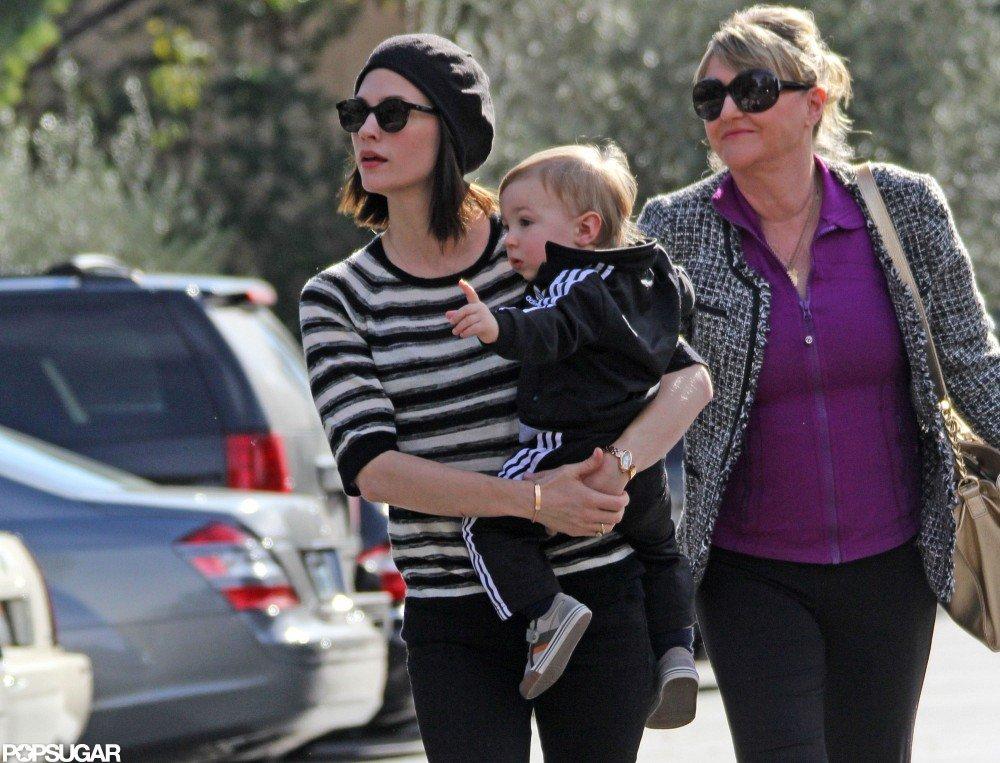January Jones, baby Xander, and her mother, Karen, went out to eat in LA.