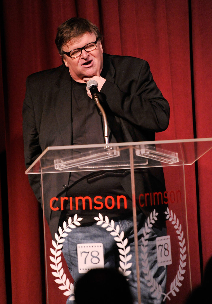 Michael Moore spoke onstage.