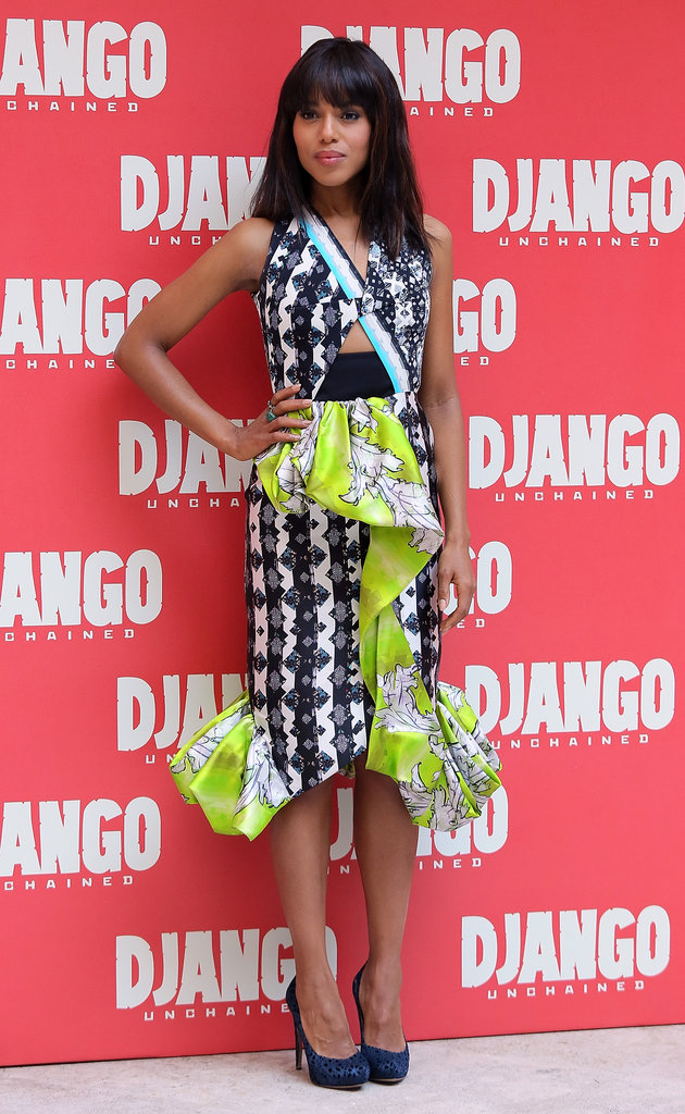 For the Django Unchained photocall in Rome, Kerry showed off a daring Peter Pilotto dress — the mixed-print, peplum, and strategic cutouts are arguably a lot in one piece, but Kerry managed to make it look chic, not sloppy. She finished the look with a pair of laser-cut Nicholas Ki
