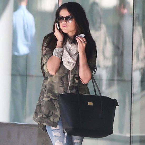 Selena Gomez Wearing Camouflage Jacket