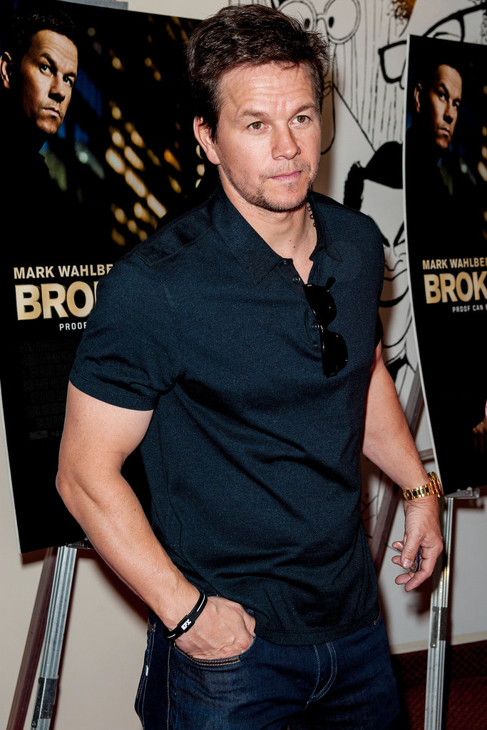 Mark Wahlberg looked casual to premiere his Broken City in his hometown of Philadelphia.