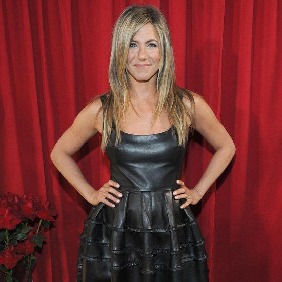 Jennifer Aniston Wearing Flare Leather Dress