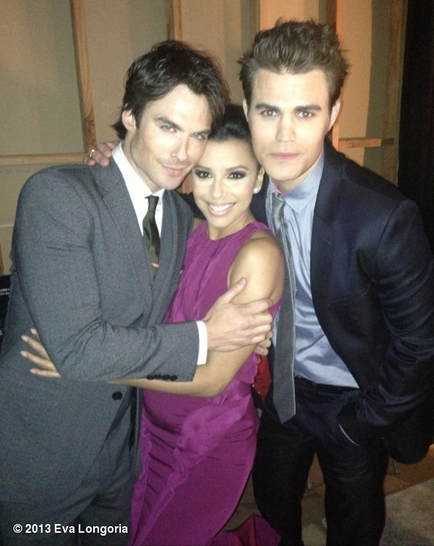 Eva Longoria was able to snag a photo with The Vampire Diaries' Ian Somerhalder and Paul Wesley. Source: Eva Longoria on WhoSay