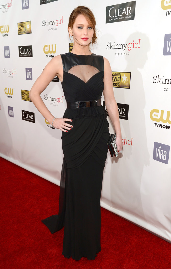 Jennifer Lawrence wore a black Prabal Gurung gown with cutouts.