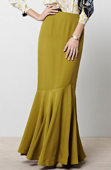 This Anthropologie chartreuse maxi skirt ($198) has a flamenco feel, which we adore. We would love to see it with a chunky black turtleneck and lace-up booties now, then with a simple gray tank and metallic sandals during Summer.