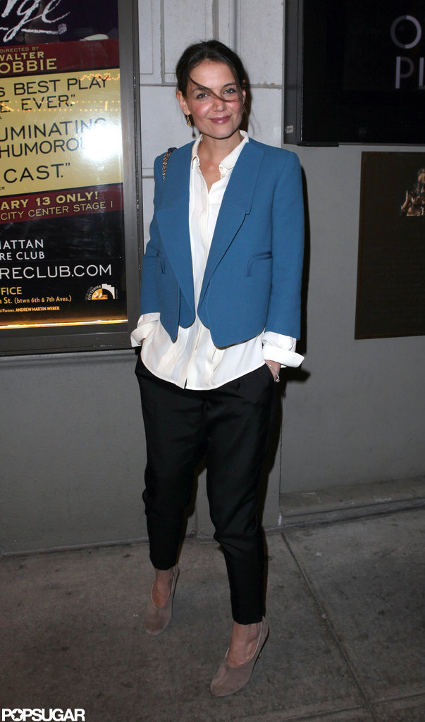 Katie Holmes dressed up in a blue blazer for a Broadway show.
