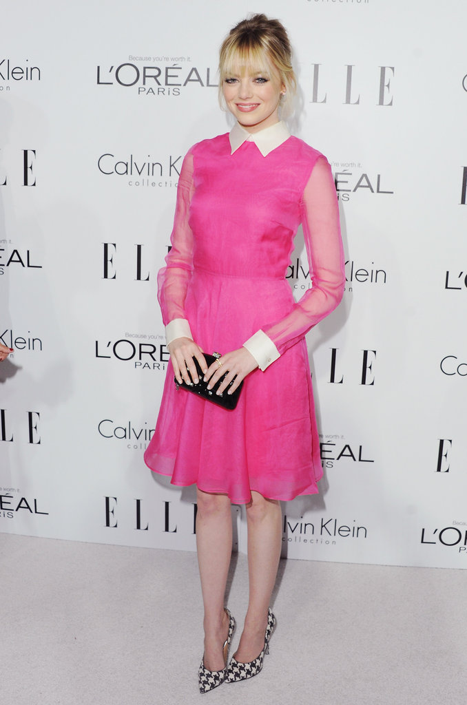 Emma was pretty in (hot) pink Valentino confection and houndstooth Ferragamo heels for the Elle Women in Hollywood event in October 2012.