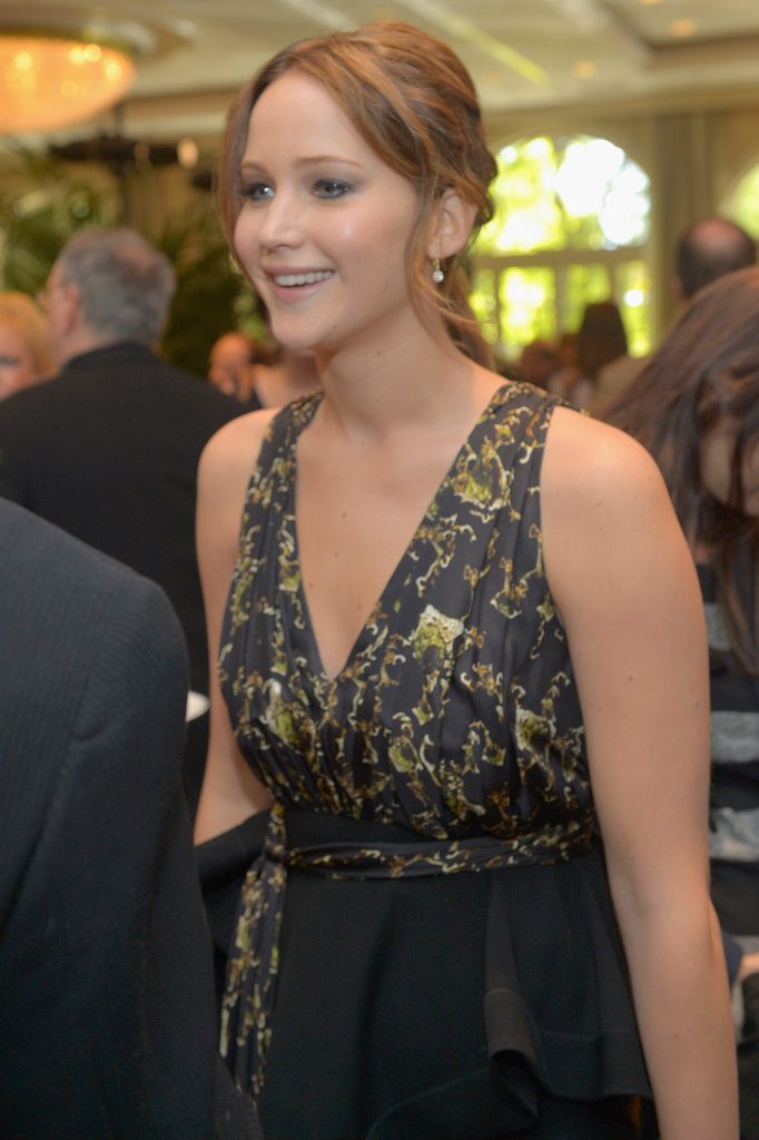 Jennifer Lawrence chatted with guests.