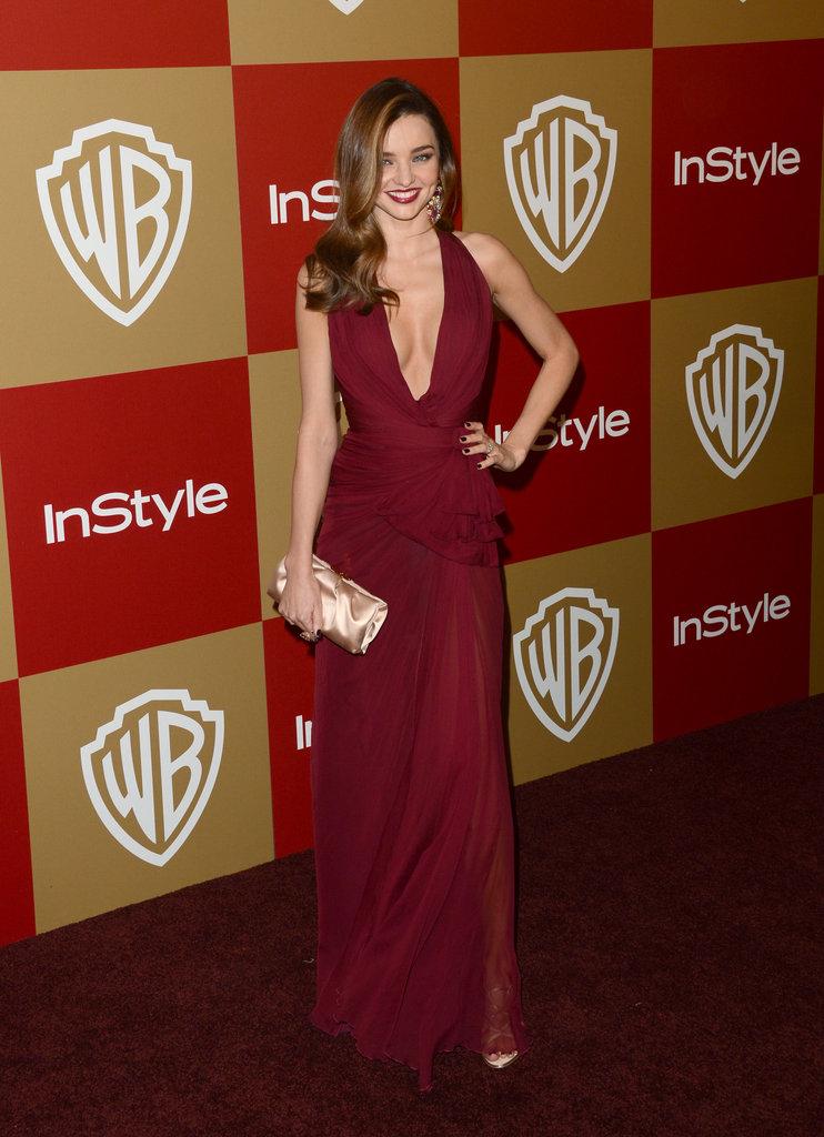 Miranda Kerr chose a plunging neckline.