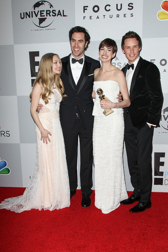 Anne Hathaway, Eddie Redmayne, Sacha Baron Cohen, and Amanda Seyfriend arrived at the party.