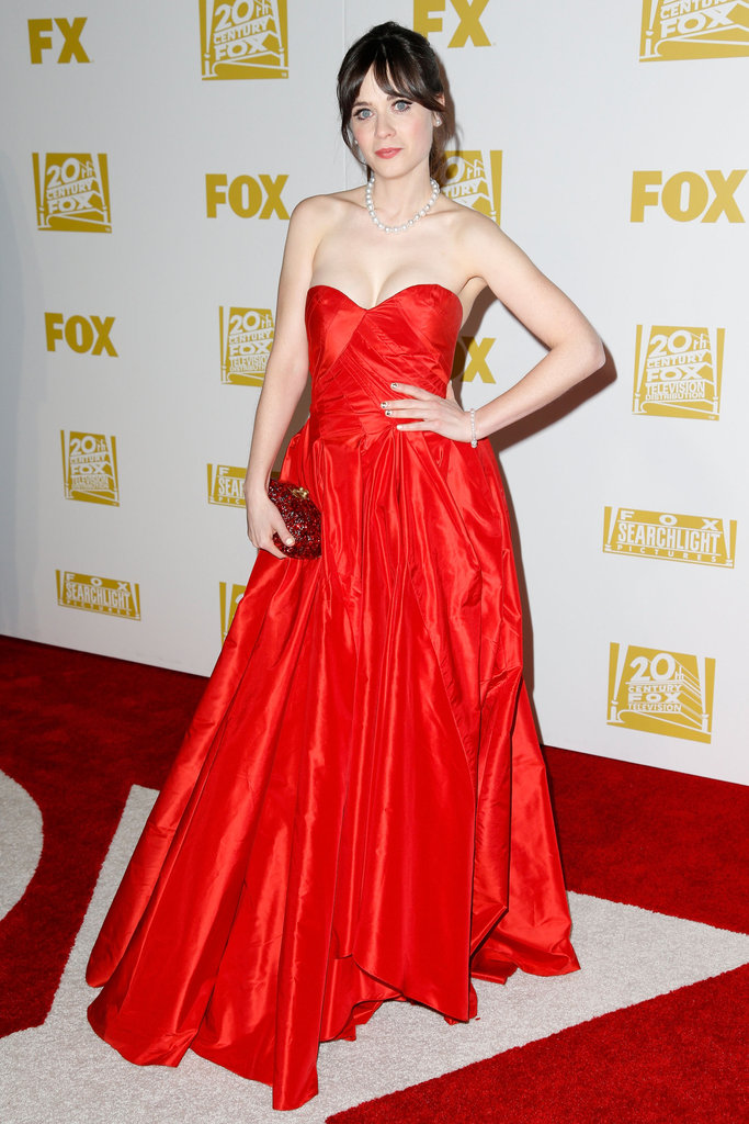 Zooey Deschanel wore red to a Golden Globes after party.