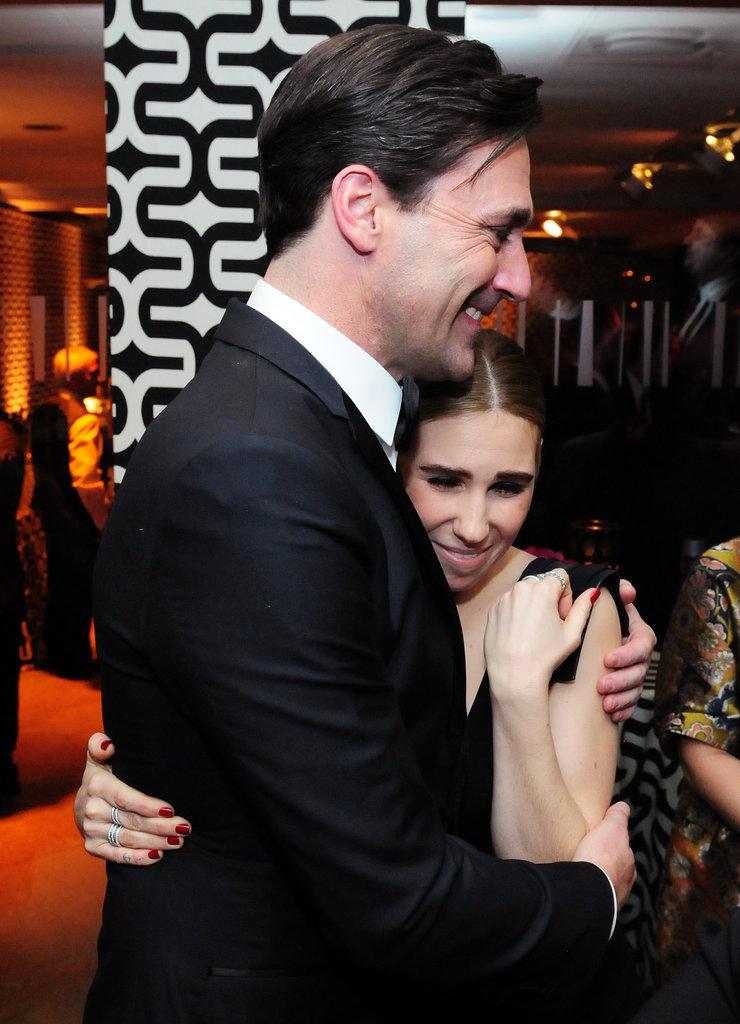 Jon Hamm hugged Zosia Mamet at HBO's post-Golden Globes party.