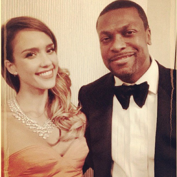 Jessica Alba posed for a photo with Chris Tucker at the Golden Globes. Source: Instagram user jessicaalba