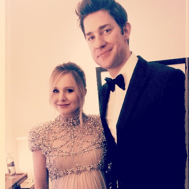 Kristen Bell and John Krasinski posed together in the Golden Globes green room before hitting the stage. Source: Instagram user jessicaalba