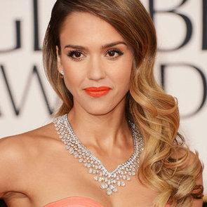 Jessica Alba's Orange Lipstick at the Golden Globes
