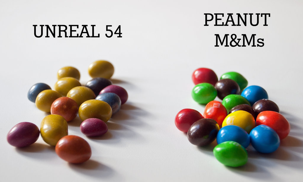 Unreal 54 Candy Coated Chocolate With Peanuts vs. Peanut M&M's