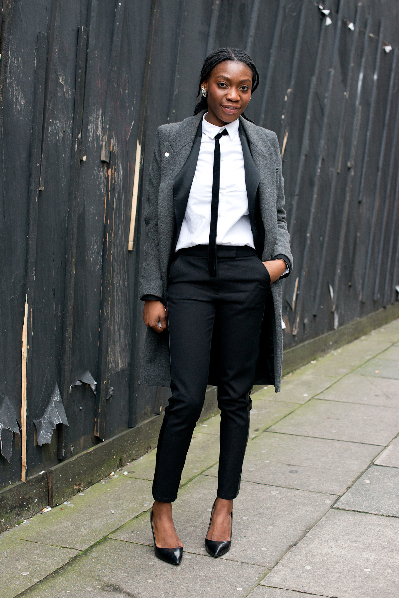 Menswear With A Woman 39 S Touch Via Pointed Toe Pumps And Skinny Black Street Style The Ultra