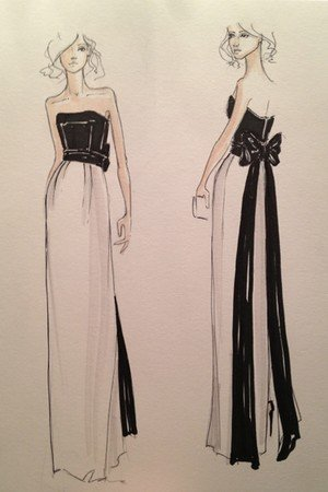 For the Kate Young For Target collaboration, the stylist is focusing on semiformal and special-occasion dresses, as seen in this dramatic bow-tie strapless gown sketch.