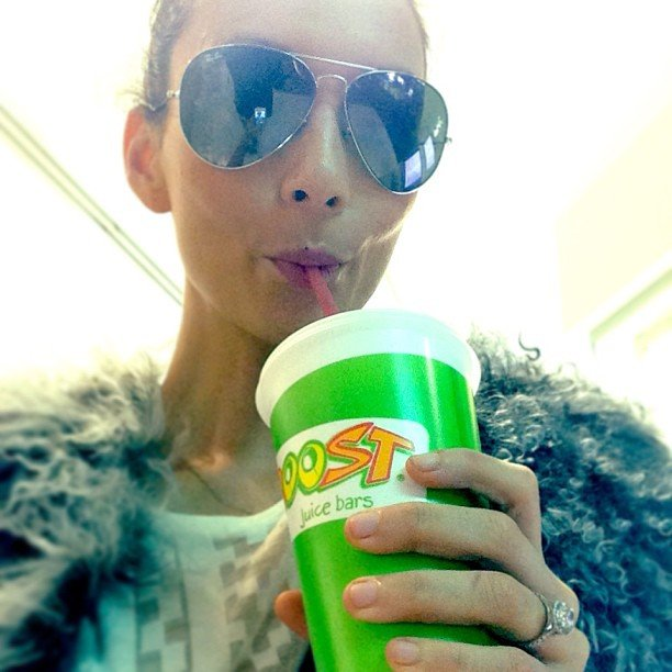 Ricki-Lee Coulter sipped on some Boost Juice — and showed off her huge engagement ring! Source: Instagram user therickilee