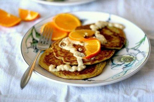 Orange Pancakes with Zesty Coconut Cream