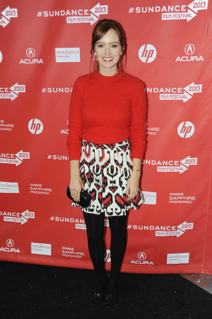 Ahna O'Reilly was a vision in a red-sweater-and-printed-skirt combo by Alice by Temperley at the premiere of Fruitvale.