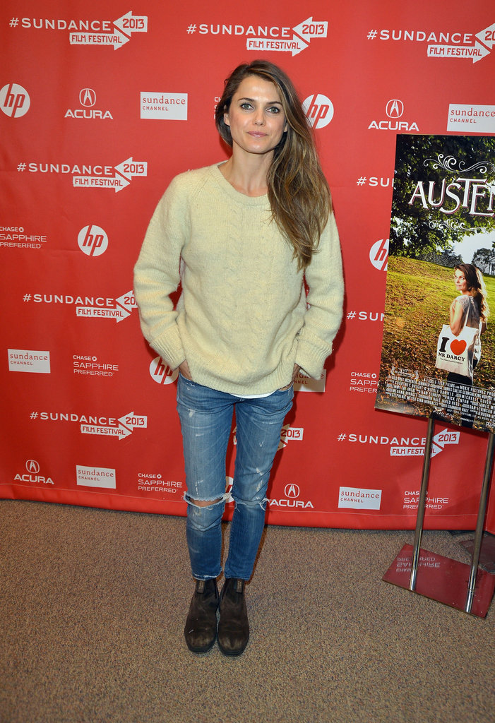 Keri Russell attended the premiere of her latest project Austenland donning a pair of distressed jeans, oversized sweater, and rugged ankle boots.