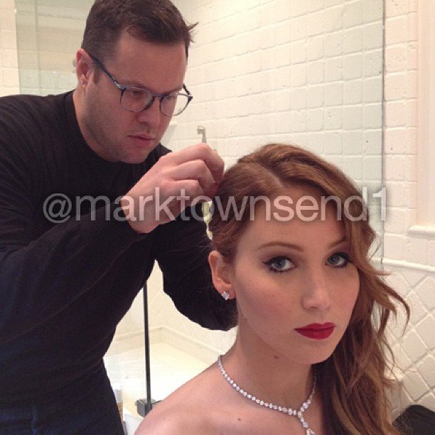 """""""Working with my inspiration,""""  said celebrity stylist Mark Townsend, who styled Jennifer Lawrence's hair for the SAG Awards. Source: Instagram user marktownsend1"""