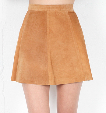 Love Leather's suede camel skirt ($253) can (and should) be worn all yearlong. Sport it with tights and boots during Winter, then with sandals and tanks during Summer.