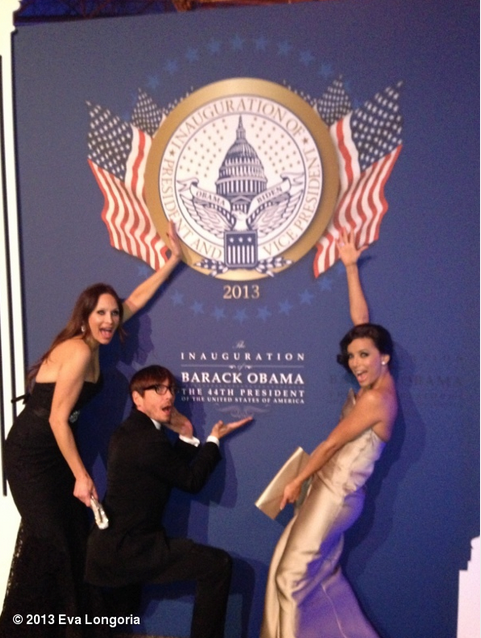 Eva Longoria and Ken Paves posed near a sign at The Inauguration Ball on Monday. Source: WhoSay user EvaLongoria