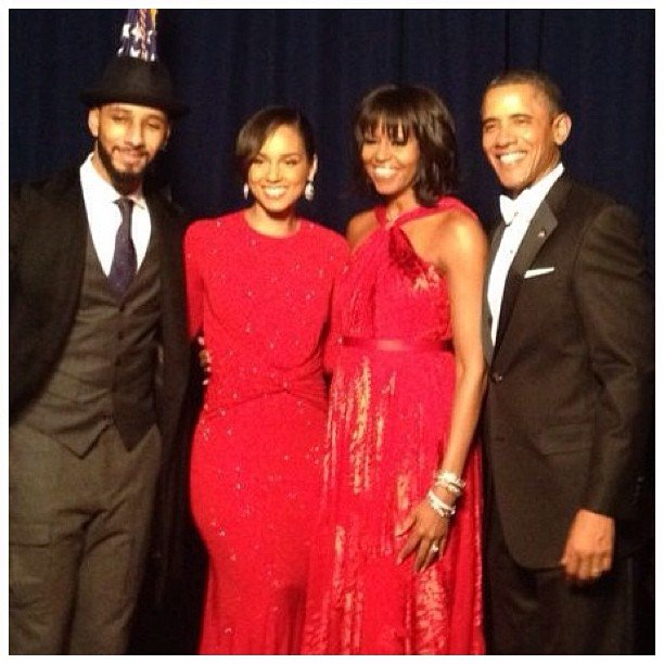 Swizz Beatz and Alicia Keys posed with Michelle and Barack Obama at the Inaugural Ball. Source: Instagram user aliciakeys