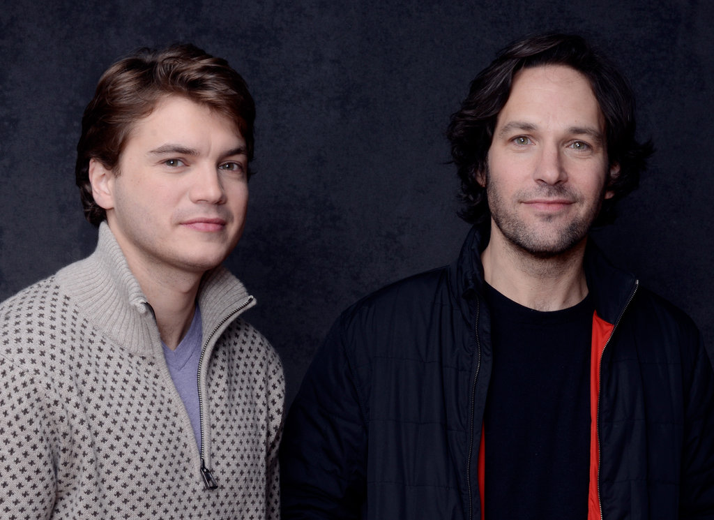 Emile Hirsch and Paul Rudd, who star in Prince Avalanche, wore comfortable zip-ups to take pictures for the film.