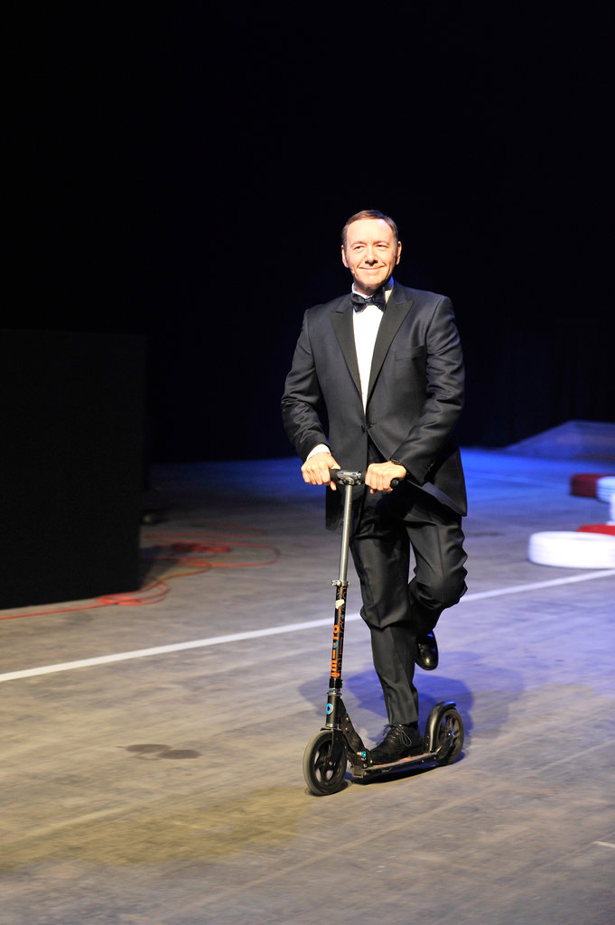 Kevin Spacey rode a scooter onto the stage.