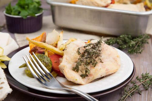 Maple Dijon Roasted Vegetables and Chicken