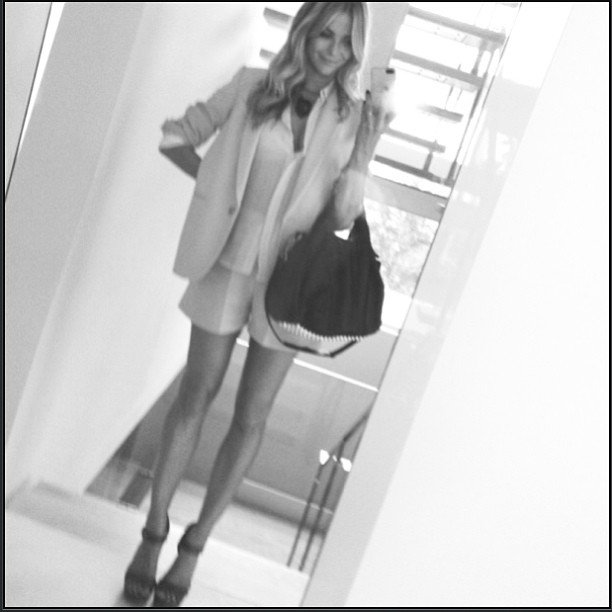 Jennifer Hawkins wore a Karen Walker suit to the Sydney auditions of Australia's Next Top Model. Source: Instagram user jenhawkins_