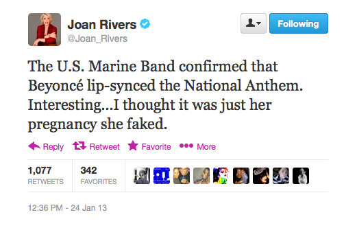 Ooh, snap. Joan Rivers gets her (funny) claws out.