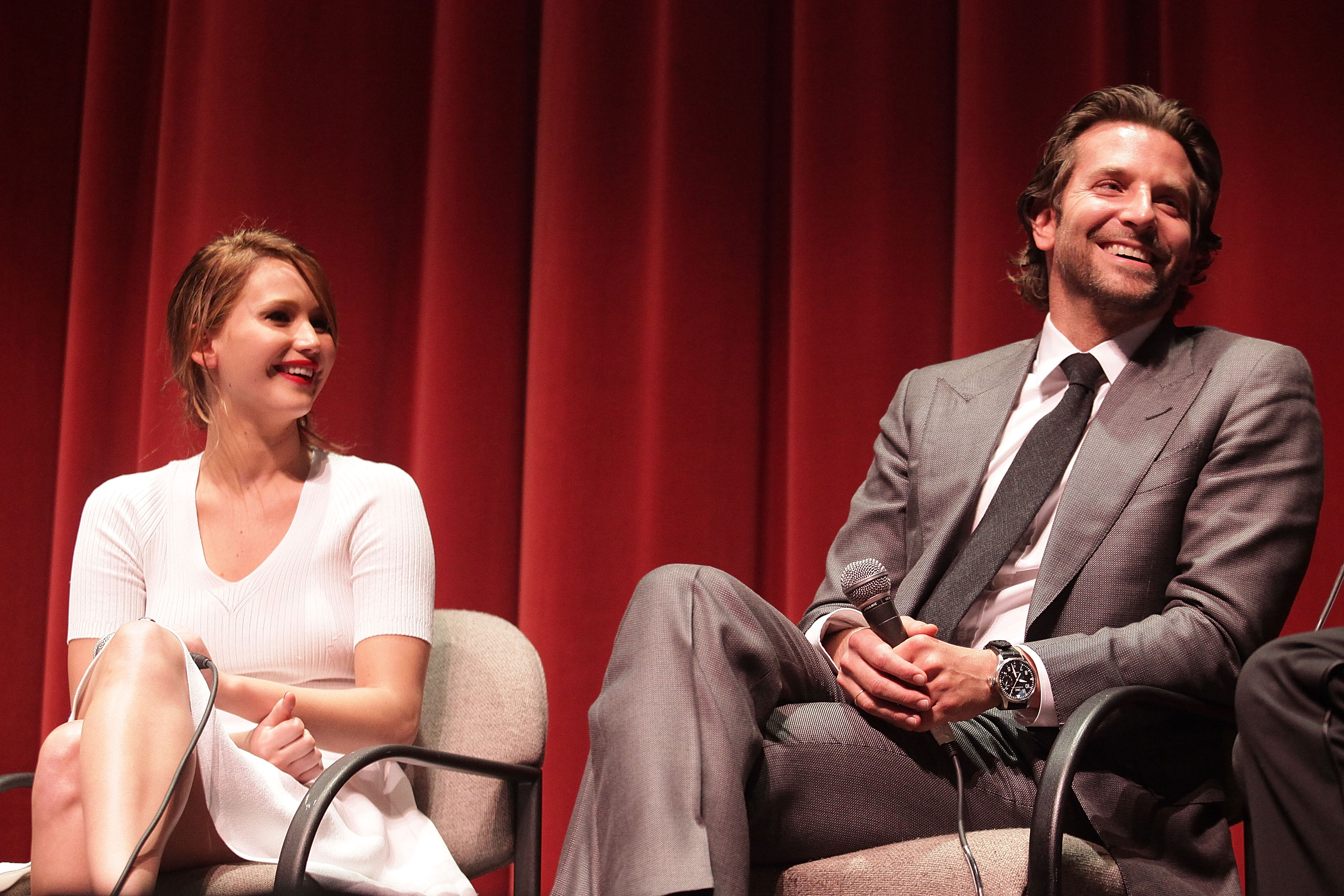 Jennifer Lawrence and Bradley Cooper had a laugh at their SAG screening of Silver Linings Playbook.