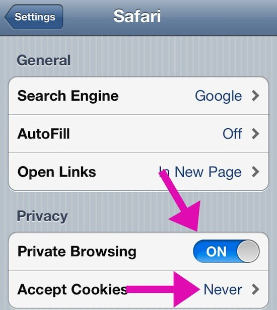 Enable Private Browsing on iDevices