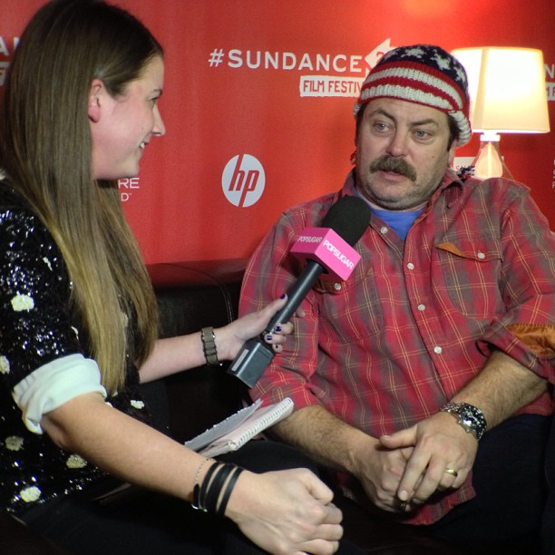 Molly and Nick Offerman talked Toy's House, Ron Swanson, and of course — that sweet Sundance hat.