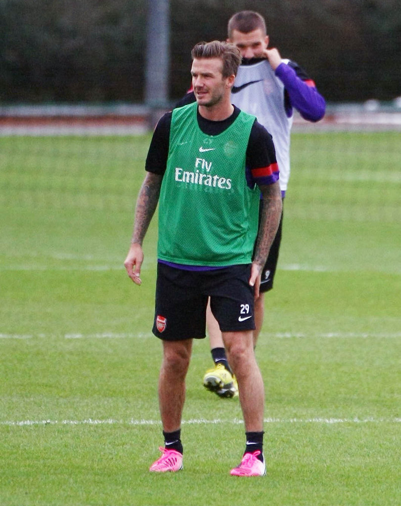 David Beckham Stays in Shape on the Soccer Field