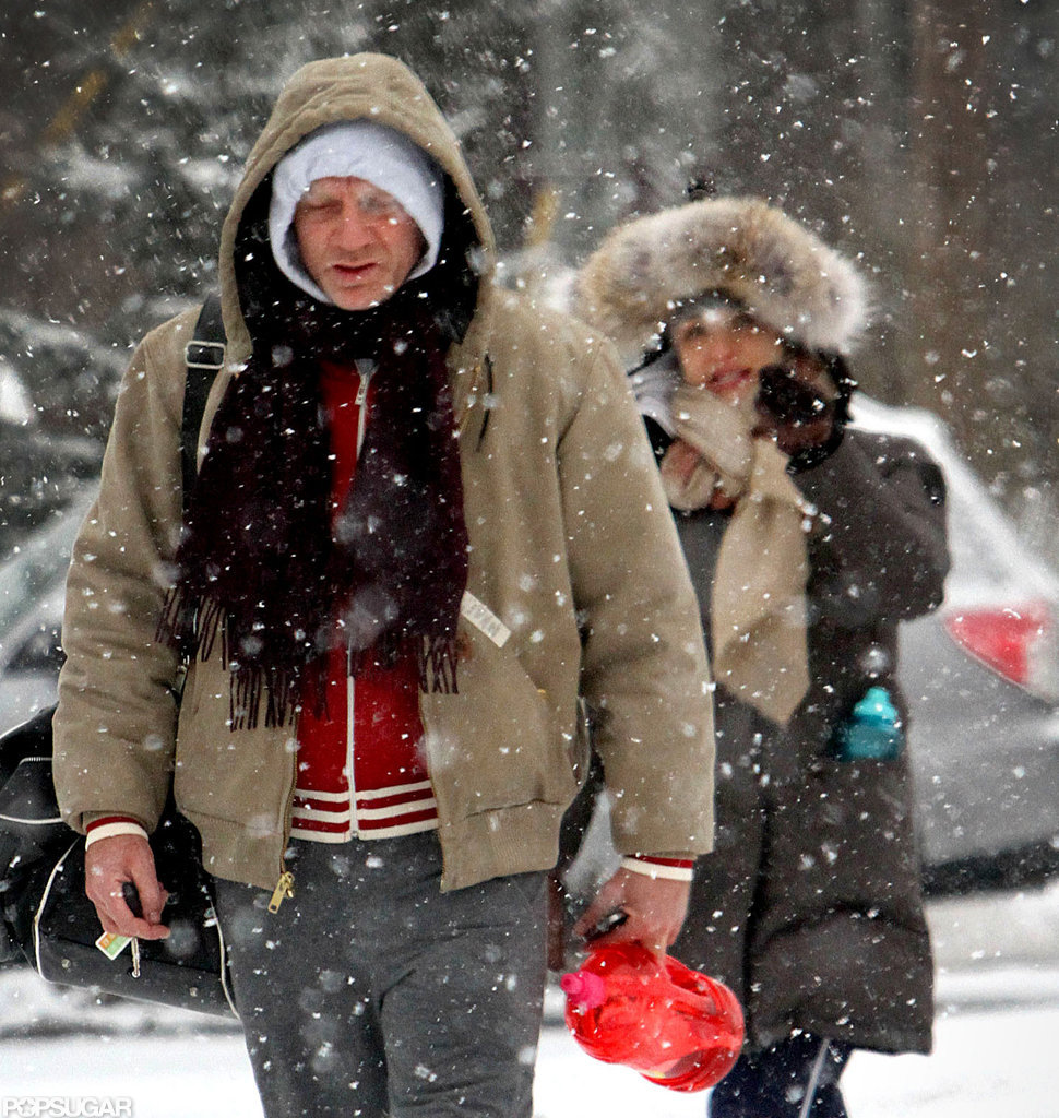 Daniel Craig and Rachel Weisz battled a snowstorm in NYC.