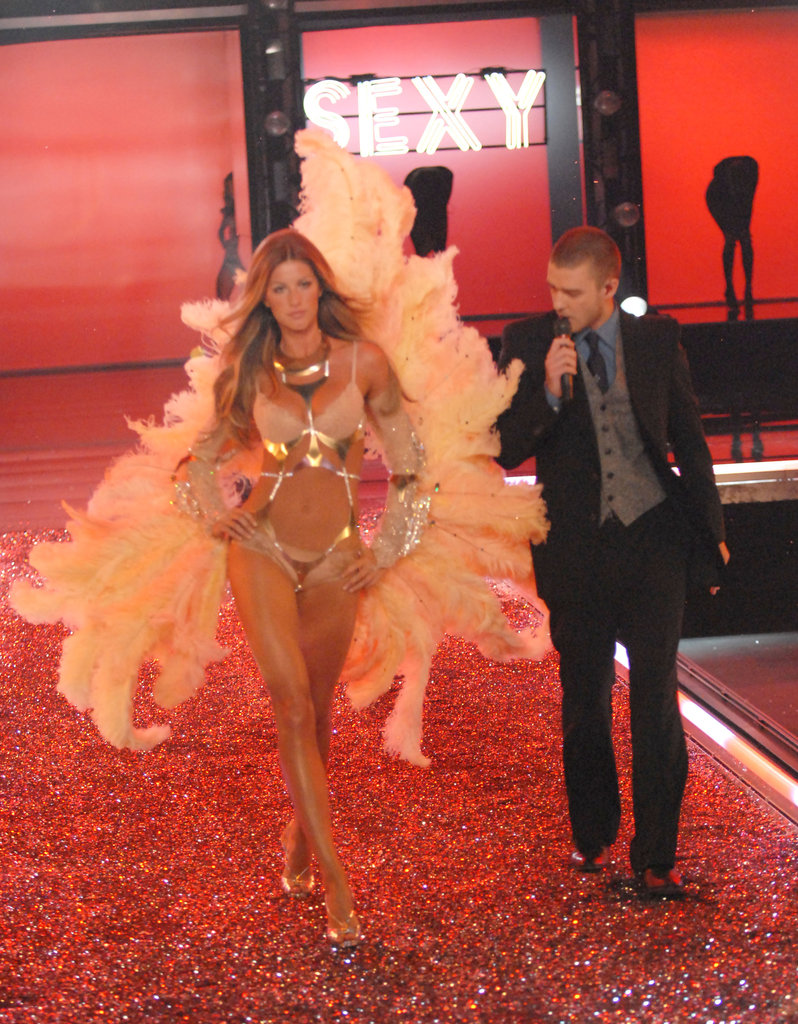 Justin Timberlake got up close and personal with Gisele Bündchen as he performed at the Victoria's Secret Fashion Show in November 2006.